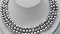 """Hot 3row 8-9mm grigio perla naturale collana di 17-19"""" chiusura Giallo"""