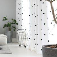Modern Simples Tela Black Circle Cortina Janela Algodão e linho para sala de estar Quarto Cozinha Branco Tulle JK145Y