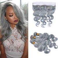 Extensiones de cabello de Remy Virgin gris 3 paquetes de onda corporal Slivery Grey Human Hair Waring con 13 * 4 Cierre de encaje frontal