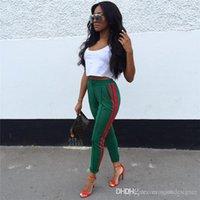 مخطط طبع أنثى الملابس الرياضية موضة الملابس النسائية انن عارضة السراويل الصيف لون الصلبة مرونة الخصر