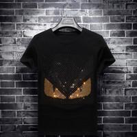 marchio di abbigliamento di moda di perforazione a caldo T-shirt manica corta rotonda metà del collo stile coreano ragazzo sociale di base di grandi dimensioni estate degli uomini degli uomini