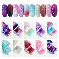 Aufkleber Abziehbilder 10 Farben Nagelfolie Bunte Galaxie Sternenhimmel Transfer Papier Wasser Marmor Kunst Aufkleber Dekorationen Maniküre Werkzeug