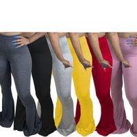 Femmes Flare pantalon large jambe décontracté plus 5xl taille elastic Leggings élastiques pantalons de taille haute cloche pantalon de jogger drapé