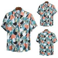 Мужские рубашки Кардиган однобортный Mens Одежда Гавайи Мужские дизайнерские рубашки отворотом Neck лето Цветочные печати