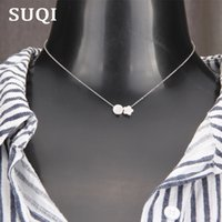 Chokers SUQI Non-toxic Stainless Steel Star Silver Color Round Necklace Women Choker Pendants Femme Chain Collar Jewelry