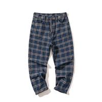 Мужчины Японский Streetwear Клетчатые брюки Одежда Мода Straight Leg Pants Hip Hop Карго высокого качества вскользь Мужской Брюки