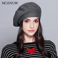 Berets Mosnow Mulheres Beret Chapéu para inverno feminino de malha de algodão lã chapéus boné outono 2021 Brand Women's Caps # MZ729
