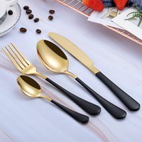 New Design High Quality 4 Pcs set Portable Luxury Gold Cutlery Set Western 304 Stainless Steel Tableware Set Kitchen accessories