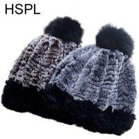 Gorro / gorras de cráneo HSPL de invierno de invierno sombrero de piel con lentes de punto de punto de punto de punto de punto cálido ruso de moda sombreros pompones de punto