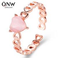 Искусство моды кольцо темперамент личность полой любовь разомкнутого кольцо небольших свежее опал персик сердце кольцо