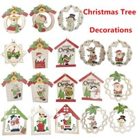Christmas Wooden Pendants Ornaments fai da te Artigianato in legno di Natale Ornamenti albero di Natale Decorazioni per feste di Natale 100bag T1i2468