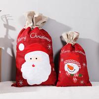 Serapilheira do Natal Bolsa S / L de linho de Santa Snowman Imprimir Gift Bag Feliz Natal presente de serapilheira armazenamento Sack HHB1691