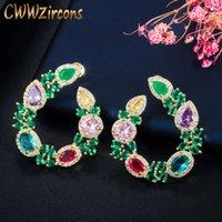 Design Folha CWWZircons Flor original elegante do ouro amarelo chapeado Big Rodada verde esmeralda Brincos para Mulheres Jóias presente CZ604