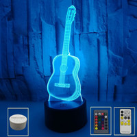 3D Illusion Işık Gitar LED Gece Işıkları Yedi Renk Değiştirilebilir Dokunmatik Uzaktan Kumanda Atmosfer Işık Noel Hediyesi Küçük Masa Lambaları
