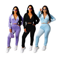 Femmes Ensemble 2 pièces à capuchon Zipper Top Survêtement Sportwear Pantalon velours stretch Casual Fitness Outfit Jogger Assortiment Dropshpping