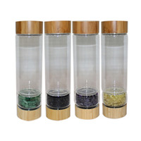 Bambu Kapaklı Doğal Kristal Kuvars Cam Suyu Şişesi Ezilmiş Kuvars Dikilitaş Wand Şifa Enerji Şişeler