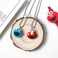 Мультфильм красный и синий ожерелье Улица Сезам Улыбайтесь Парой ожерелье Смешные детей украшения