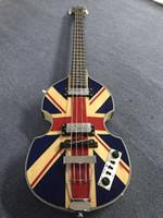 Custom McCartney Hofner H500 / 1-CT Contemporain Violon Deluxe Bass Bass England Flag Electric Guitare Flamme Échame Back Côté Expédition gratuite