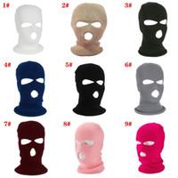Beanie Balaclava зима полное лицо шляпа теплая лыжная маска 3 отверстия вязаный открытый белый черный