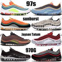 Nuevos 97s zapatillas para correr plaid light cream sunburst Vintage Mosaic pana azul claro silver bullet undftd negro blanco para hombre zapatillas de deporte para mujer