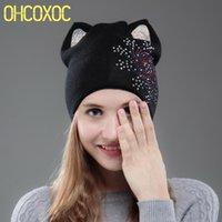 OHCOXOC Nouveau design femmes Beanies Skullies Princesse mignonne fille Automne Hiver Chapeau de Noël avec Cap chat oreille Snowflakes strass