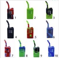 20pcs Spiele Spieler-Kasten quadratische Form Pfeifentabak Silikon Wasserpfeife mit Glasschüsseln Rig für die Wasserpfeife Bongs Downstem Werkzeug