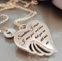 Fashion jewelry Angel Wings Diamond Letter Love Necklace pendants crystal gold silver necklace jewelry heart pendant necklace for women