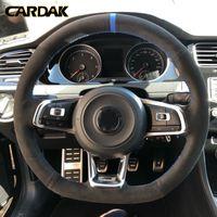 Karbon fiber Siyah Süet Araç Direksiyon Kapak Volkswagen Golf 7 GTI Golf R MK7 Polo Scirocco 2015 2016 otomobil aksesuarları