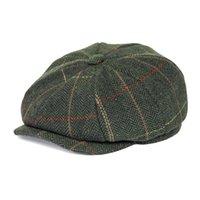 FEINION Ballonmütze für Männer Frauen 50% Wolle Tweed flache Kappen mit Fischgrätmuster Cabbies Treiber Hat Grün Gelb 068 T200911