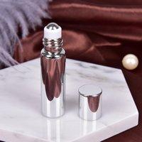 Schöne 5 ml Glas + Metall Ätherisches Öl Rollerflaschen mit Glas Rollen-Kugel-Aromatherapie Parfüm Lippenglasrolle auf Flasche 1PCS