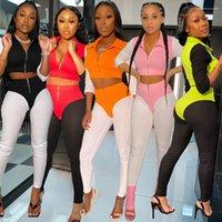 Parça Kıyafetler Moda Kasetli Kontrast Renk Tasarımcı eşofman Uzun Kollu Coat İki Adet Pantolon Kadın 2