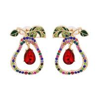 Newest 2020 Pear Shaped Stud Earrings Boho Handmade Rhinestone Maxi Earring Ethnic Fruits Crystal Earring for Women Jewelry