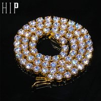 HIP HOP 05/04 / 6MM 46cm Bling buzlu Out Stainess Çelik Zirkon Tenis Zincir Charm Uzun bağlantı Zincir kolye İçin Erkekler Takı