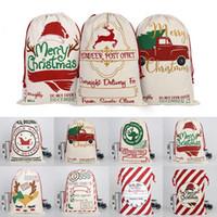 Regalo di Natale Borse di Santa Sack coulisse Canvas Bag Decorazioni di Santa Sacchi Renne di Babbo Natale Cervo Borsa di Natale 39 stili HHC1354