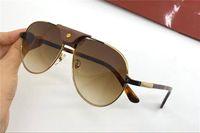 Ny mode design solglasögon 0096s metall pilot ram center stråle med läder spänne design toppkvalitet UV400 skyddsglasögon