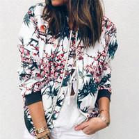 Женские куртки Женская куртка Ретро Цветочная молния UP Bomber Повседневная мода Пальто для одежды Casacas Para Mujer Plus Размер