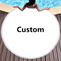 Custom Microfiber Redondo Toalha de Praia Da Praia Mat Sunscreen SHAW HAP Piquenique com Borlas e Sem Borlas 150cm Home Personalização