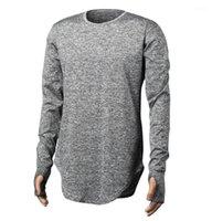 Automne Adolescent Designer T-shirts Finger Longline courbé rue Hauts solides manches longues T-shirt pour hommes