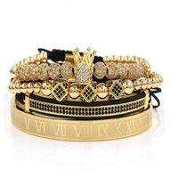 4 unids / set + Número romano Pulsera de acero de titanio Pulsera de pareja / corona / para amantes / pulseras para mujeres Hombres Joyería de lujo