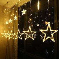 Twinkle Star 12 Sterne 138 LED-Vorhang-Schnur-Lichter, Fenster-Vorhang-Lichter mit 8 blinkende Modi Dekoration für Weihnachten, Hochzeit, Party,