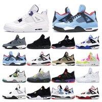 Новое прибытие Mens тренеров баскетбольной обуви 4s Jumpman 4 Black Cat Белый цемент Фиолетовый Кактус Джек Леммон Розовый женщин мужчин спорта кроссовки моды