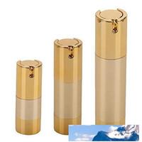 15ML 30мл 50ML безвоздушного насоса бутылки Пустой Перезаправляемые Gold безвоздушного Вакуумный насос Крем Лосьон Макияж бутылки туалетные принадлежности контейнера для жидкости
