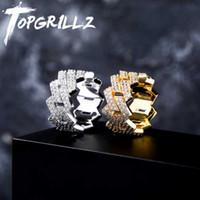Anneaux de cluster Topgrillz Hip Hop Ifed Out cubain Bague pour hommes Réglage d'or Silver Couleur Silvier Bling Cubic Zirconia Charm Bijoux