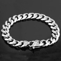 Enlace, cadena abuelita chic 15 mm de ancho de 7-11 pulgadas para hombre bicicleta de plata de plata de acero inoxidable Miami bord Cuban Link Pulsera Joyería