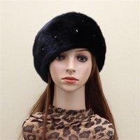 Berretti Prodotto Prodotto intero Pelle visone Starry Berret Cappello importato in pelle Lampeggiante Diamante Diamante Coreano inverno Warmth