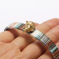 Charme pulseiras ouro vívido cão lobo cabeça étnica boho boêmia macio algodão seda borla tassel pulseira pulseira ajustável para mulher