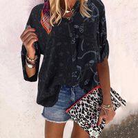 Boy Leopar Patchwork Gömlek Sping Sonbahar Bayan Bluz Tops Uzun Kollu Gevşek Gömlek Femme Sokak Artı Boyutu Bluzlar Tops