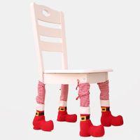 Dekoracje świąteczne 1 Sztuk Tabela Nogi Krzesło Pokrywy stopa Cap Santa Claus Wzór Festiwal Domek Dekoracje Party Decor Rok Ornament