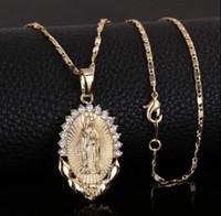 Heilige Jungfrau Maria Anhänger mit Halskette Religion Dainty Goldene Christian KubikZircon Halskette Frauen Collier Femme Christian Schmuck