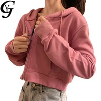 Zip Up Crop Top Hoodies Femmes 2020 Elégante solides manches longues Crop T-Shirt Femme Pull Ulzzang Mode Sudaderas Mujer
